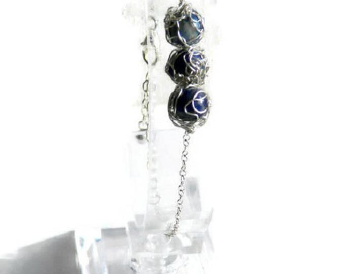 Lapis lazuli and silver sterling bracelet. Wire crochet bracelet. Lapis lazuli jewelry. French handmade. Gift women. Jewelry made in France.