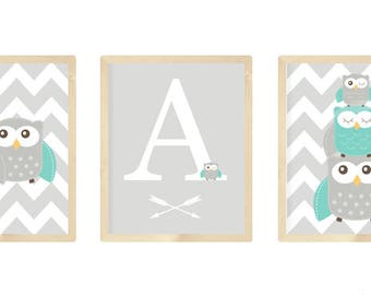 Owl Nursery Decor, Owl Nursery Wall Art, Owl Nursery Prints, Owl Nursery, Set of 3 8x10