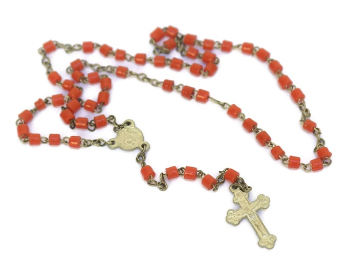 French Catholic Rosary Beads with Coral Coloured Glass Beads.