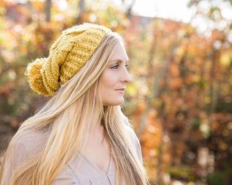 Slouchy Knit Pom Pom Beanie Hat