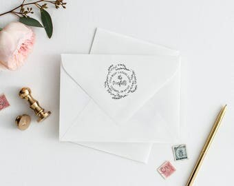 Laurel Return Address Stamp - Circular Calligraphy Script Stamp with Wreath - Custom Personalized Stamp