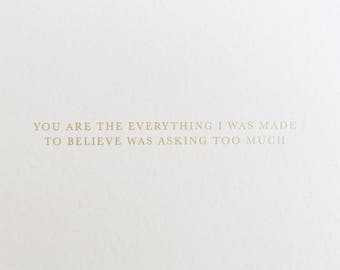 Gold Foil The Everything love card, first anniversary card for wife, wedding card, birthday card for boyfriend card, girlfriend card