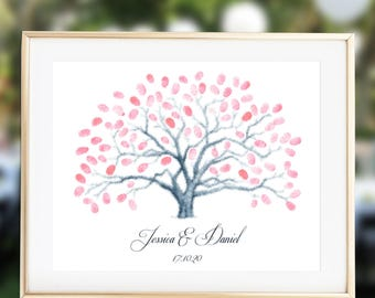 Fingerprint Tree Wedding Guest Book, Thumbprint Guestbook, Fingerprint Guestbook Alternative