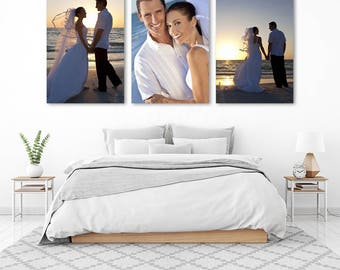 Split photo canvas print, Custom made canvas print, Large wall decor canvas, Wedding photo canvas print, Your photos on canvas