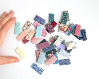 Set of 41 Miniature Fabric Bolts, Miniature Fabric Bolts, Dollhouse Fabric Bolts, Mini Fabric Bolts, Fabric Bolts Miniature Sewing Dollhouse