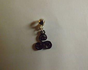 Pendant silver triple spiral or triskele black (Celtic symbol) 16x13mm