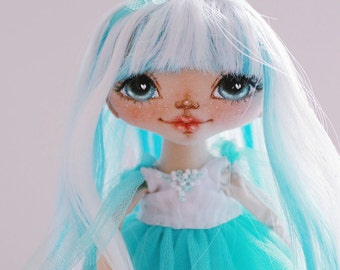Turquoise fairy, textile doll, art doll, handmade doll, fabric doll, home decoration