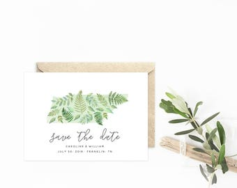 State Save The Date, Tennessee Watercolor Ferns & Botanicals