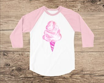 Cotton Candy Toddler Shirt, Raglan with 3/4 Sleeves