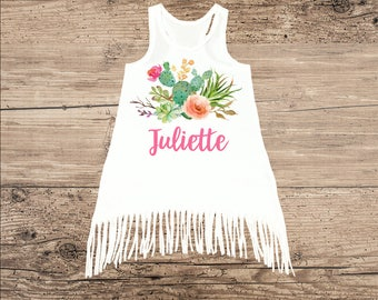 Personalized Dress for Toddler or Baby, Cactus with Flowers