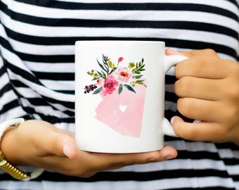 Arizona Mug, Flower Bouquet State Love Mugs