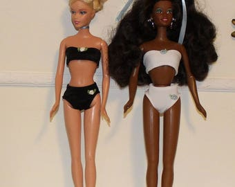 """Black or White Bra and Panties for 11.5"""" to 12"""" Fashion Dolls.  (Clothes only, Barbies are not included)  Toy doll clothes, Black or White"""