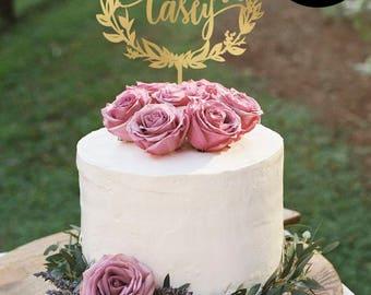 Cake topper for wedding, Mr and Mrs Cake Topper Gold, Personalized Name Cake Topper, Cake topper wreath, Silver Cake topper