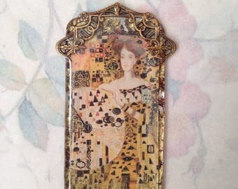 Tarot Fortune-Klimt pendant- Resin pendant, Vintage image, Klimt pendant, tarot pendant, jewelry components, resin pendant