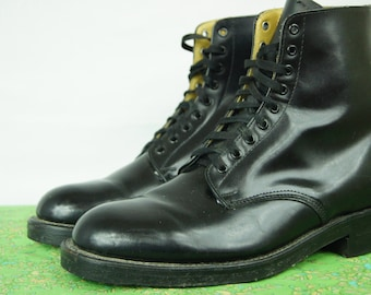 Vintage 90s Grunge Biltrite Boots - Size 9.5 Men's US 5E, 9-hole Military Army Boots - Made in Canada - Police Boot - Combat Boots - D318