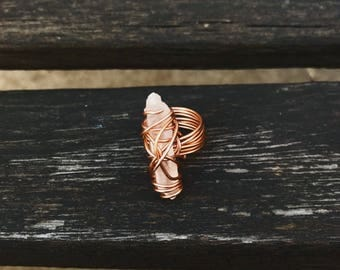 Wire Wrapped Raw Quartz Ring/ Size 6