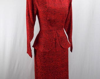 Red and Black Silk Dress with Peplum