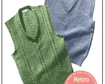 1950's Cable and Plain Pullovers Vintage Knitting Pattern - PDF Instant Download