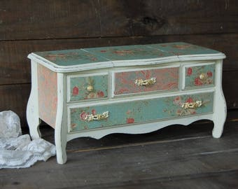 Jewelry Box, Music Box, Shabby Chic, French, Ivory, Aqua, Upcycled Vintage, Hand Painted, Decoupage, Wood, Jewelry Storage, Gift for Her