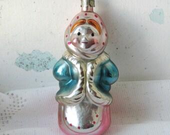 Vintage Soviet Christmas tree decoration, Babushka Glass Ornament, Christmas decor, Retro Tree decoration, Made in USSR