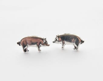 Pig Earrings, Little Pig Studs, Pig Jewelry, Silver Pig Earrings, Farm Animal studs