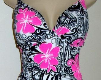 Push Up Tankini-Open back-Plus size tankinis-Swimwear-Swimsuits-Separates-Women's-Ladies-Bathing suits-Tops-Underwire-Long-Short-Custom made