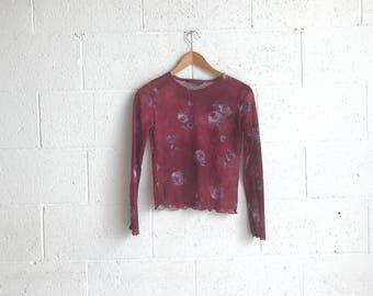 90s Long Sleeve Sheer Top · See Through 90s Shirt · Sheer Floral Shirt · 90s Mesh Club Kid Shirt · 90s Soft Grunge · Floral 90s Grunge Top S