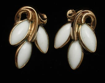 Trifari White Earrings Vintage