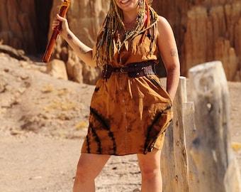 Tie Dye Upcycled Dress, Trippy Cowboy tank Dress, XL Hippie OOAK Repurposed Fashion