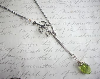 Green leaf with silver branch silver lariat necklace
