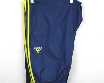 90s Vintage ADIDAS Nylon Joggers Track Pants 3 Stripe Windbreaker Pants Fitted Embroidered Adidas Logo Light Blue and Yellow Size Large