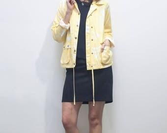 SALE! Light Yellow Cotton Jacket // Windbreaker Summer Beach Jacket sz S / M