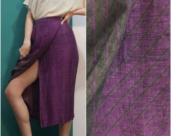 90s Plum Linen Wrap Skirt w Pockets // Jones NY Diagonal Stripe Brown Purple Minimalist Wrap Midi Skirt sz S / 2 / 4