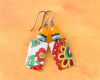 Boho Chic Flower Vintage Tin Earrings with Turquoise and Orange Beads and Antique Copper, Bohemian Floral Tin Jewelry, Asian Flower Earrings