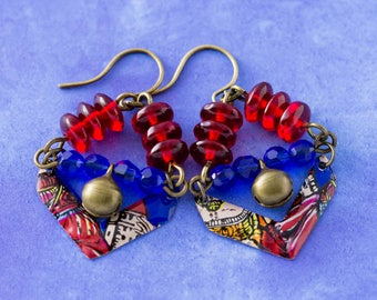 Unique Blue and Red Vintage Tin Chevron Bell Earrings with Cobalt Blue and Red Beads, Antique Brass Bell Charms, Tribal Style Jewelry