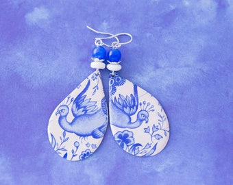 Large Blue Bird Teardrop Delft Vintage Tin Earrings with Blue and White Beads, Cottage Chic Jewelry