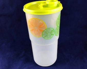 Vintage Tupperware Lime and Orange/Lemon Slice Thirstquake Mega Tumbler 30oz./875 ml w/ Flip Top Lid