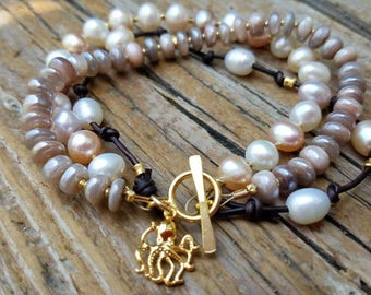 10% OFF SALE, Mystic Moonstone Bracelet and 24k Gold Vermeil with Pearls, Pearl and Leather Bracelet, Gold Octopus Charm, June Birthstone