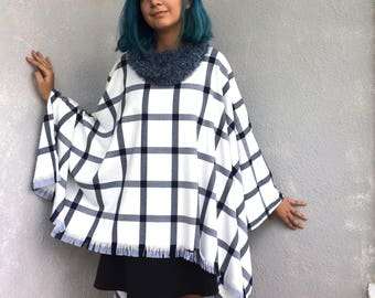 Oversize Poncho, Plaid Tartan Poncho, Boho Cotton Cape, Women Outwear, Capelet with Cowl, Fluffy Knit Cowl, Tassel Cape, Women's Gift