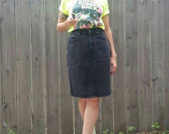 Vintage 80s Hollywood Era Black Cotton Jean Skirt Canadian Made