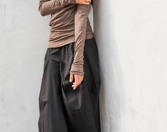 Distorted Black Skirt /Black Extravagant Skirt / Oversized Skirt / Cottoned Modern Loose Skirt /Arya Casually Black Loose Skirt by AryaSense