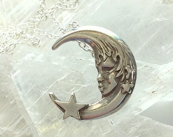 Vintage Sterling Silver Crescent Moon and Star Pendant or Necklace - Moon and Stars Pendant