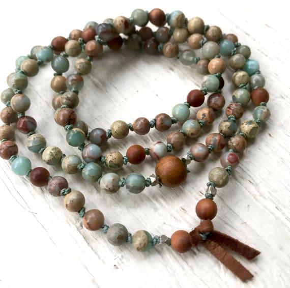 108 African Opal Mala Bracelet, Sandalwood, Hand Knotted Wrist Mala Beads, Boho Mala Beads, October Birthstone, Unisex Mala Beads,
