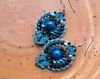 Agate macrame earrings, blue black, gemstone, floral, beaded, micro-macrame jewelry, beadwork, beadwoven, elegant earrings, office, dressy