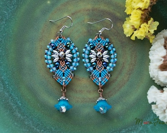Floral macrame earrings, blue brown silver, lucite flowers, beaded, micro-macrame jewelry, beadwork, beadwoven, bohemian, boho chic, gypsy