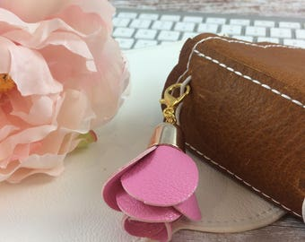 Pink Flower Leather 'Rose' Charm // Purse Charm // Planner Charm //