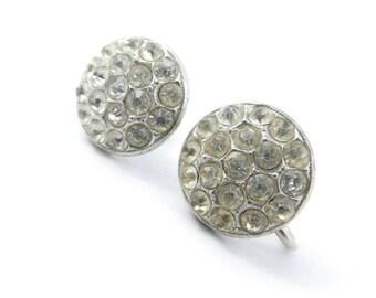 Vintage Round Rhinestone Earrings, Screw Backs