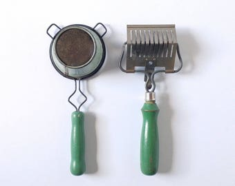 vintage kitchen utensils, vintage pasta wheel, vintage sieve, mid century kitchen tools, apple green handles
