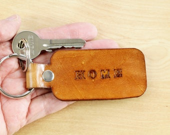 New Home Keychain Leather Keychain First Home Key Fob Home Buyers Gift New House Key Chain Moving In Gift For Boyfriend Hand Stamped Key Fob