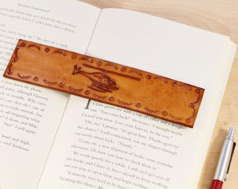 Helicopter Bookmark Hand Carved Leather Bookmark Helicopter Pilot Gift Helicopter Gift Flying Gift Helicopter Bookmark Aviation Gift For Dad